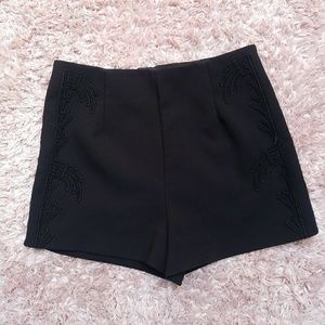 H&M Shorts - H&M High Waisted Embroidered Shorts